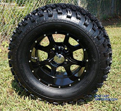 12 STALKER Black Aluminum Wheel and 23 All Terrain Golf Cart Tires Combo - Set of 4