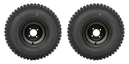 Slasher Knobby 18x950-8 Golf Cart TiresATV Tires and 8 BLACK Steel Wheel Combo - Set of 2
