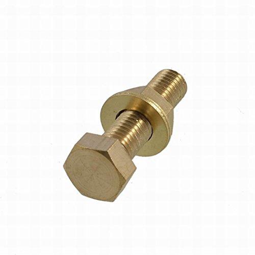 Ugtell Brass 12mm x 50mm Male Thread Hex Head Screw Nut Washer Set