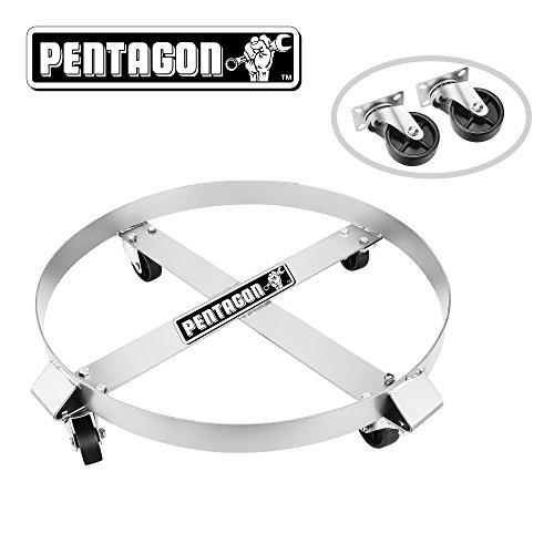 Pentagon Tool  Heavy Duty  55-Gallon Drum Dolly  Single  Silver