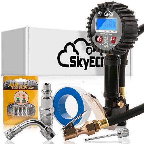 SkyEca Digital Tire inflator gauge for air compressor with smart valve caps for free Black Medium